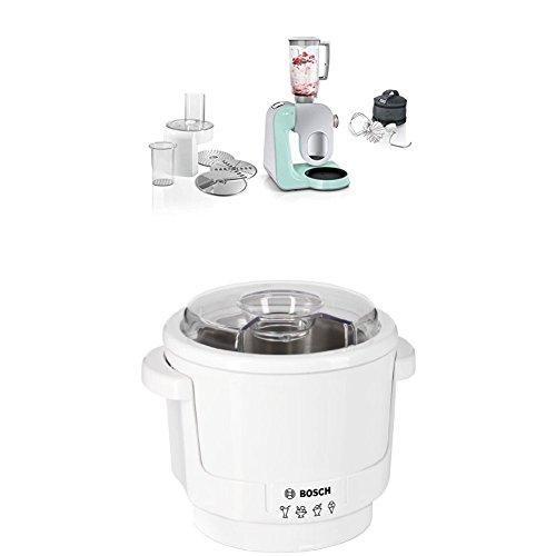Bosch MUM58020 Küchenmaschine CreationLine, 1000 W, 3,9 l Edelstahl-Rührschüssel, 3D Rührsystem, 7 Schaltstufen, turquoise/silber + MUZ5EB2 Eisbereiter Küchenmaschinenzubehör - Küchenmaschine Türkis