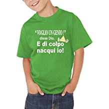 Fermento Italia T-Shirt Bambino Divertente Voglio Un Genio - Maglietta  Umoristica 100% Cotone c0415b4bc33d