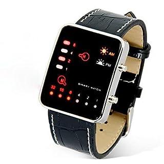 Tonsee Digital Red LED Sport Wrist Watch Binary Wristwatch PU Leather Women Mens