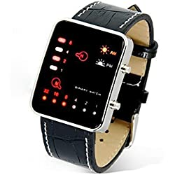 Tonsee Digital Red LED Sport Wrist Watch Binary Wristwatch PU Leather Women Mens