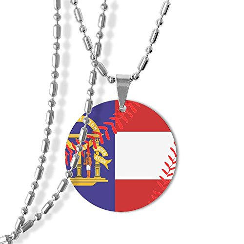 MAMA LAZCNYQL Men's Baseball Georgia State Flag Round Necklace Pendant Jewelry Army Card Dog Tag Great Gift (State Flag Dog Tag)