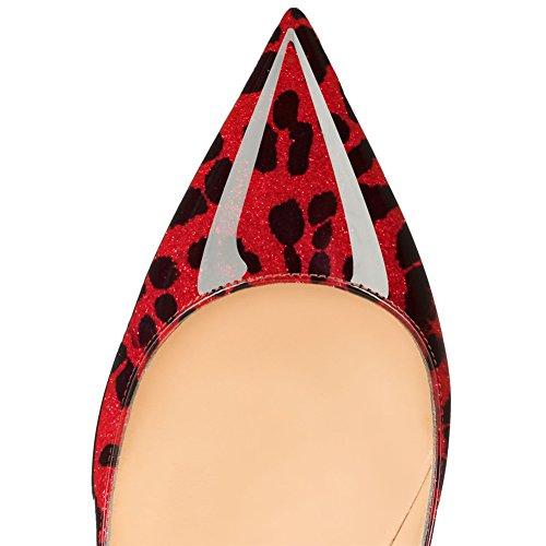 EKS , Sandales Compensées femme Rouge-léopard