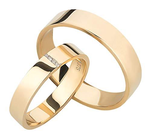 Ardeo Aurum Trauringe aus 375 Gold Gelbgold mit 0,02 ct Diamant Brillant hochglanzpoliert Eheringe Paarpreis