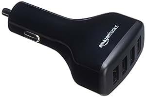 AmazonBasics - Caricabatterie per auto 9,6 A/48 W 4 porte USB per dispositivi Apple e Android, Nero