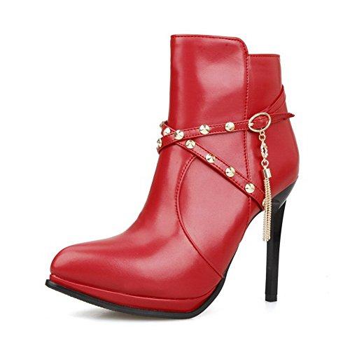 VogueZone009 Damen Blend-Materialien Spitz Zehe Niedrig-Spitze Hoher Absatz Stiefel, Rot-Spitze, 44