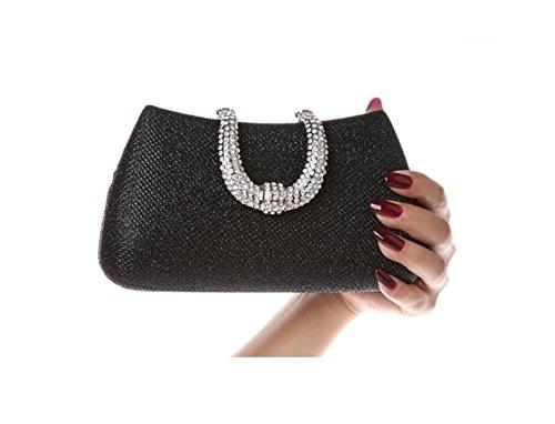 GSHGA Frauen Clutch Bag Bankett Pack Diamant Weiblichen Paket-Abend-Beutel-Brautbeutel Hochzeit Handtasche,Gold Black