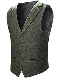 28716e7a891 VOBOOM Mens Herringbone Tailored Collar Waistcoat Fullback Wool Tweed Suit  Vest