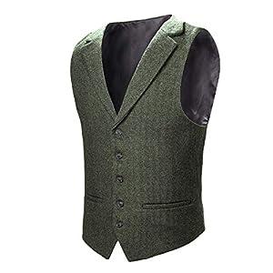 VOBOOM Herren Weste mit Maßgeschneidertem Kragen Woll Tweed Anzugsweste
