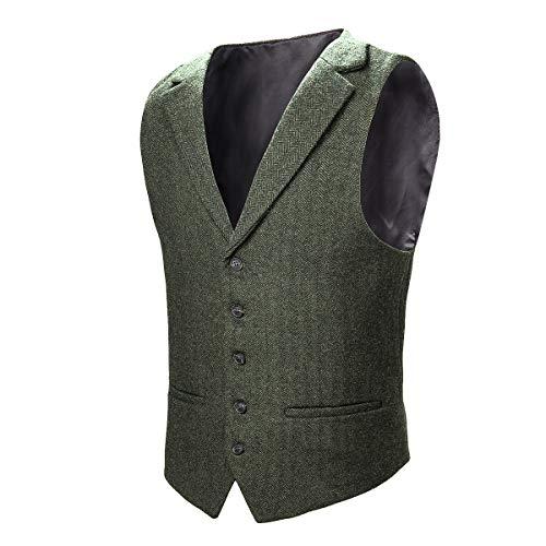 VOBOOM VOBOOM Herren Weste mit maßgeschneidertem Kragen Woll Tweed Anzugweste,Armeegrün,S