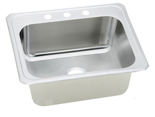 Elkay DCR2522125 Gourmet 18 Gauge Stainless steel 25 inch x 22 inch x 12.25 inch single Bowl Top Mount Laundry/Utility Sink, 5 Faucet Holes