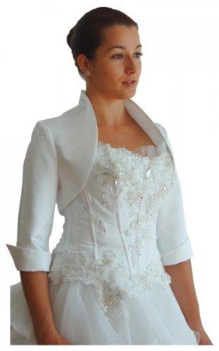 Mamas Brautmode - Brautjacke Bolero Satin 3/4-Arm, Farbe: Ivory; Größe: 48