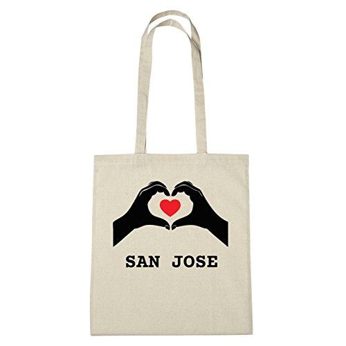 JOllify San Jose di cotone felpato b4442 schwarz: New York, London, Paris, Tokyo natur: Hände Herz