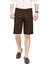 Showoff Men's Brown Slim Fit Printed Casual Chino Shorts