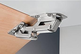 2 Stück - GedoTec® Aufschraubscharnier Caravanscharnier Türscharnier Möbelscharnier für aufliegenden Anschlag | Stahl vernickelt | Klappengewicht 2,1 kg | Markenqualität für Ihren Wohnbereich