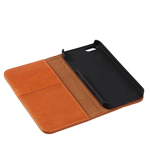 Genuine Leather Wallet Case,Flip Folio Book Cover Magnetic Closure with Stand Function,Card Slots and ID card Holder for Apple iPhone6/6S Plus Dark Brown Brown