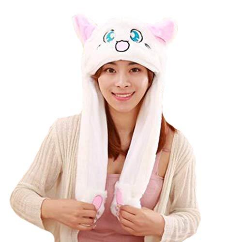 dressfan Damen Mädchen lustige Plüsch Katze Ohr Hut Spielzeug Geburtstagsgeschenk Katze Hut mit beweglichen Ohr Katze Mütze Katze Hut Mädchen - Katze Kostüm Niedlich