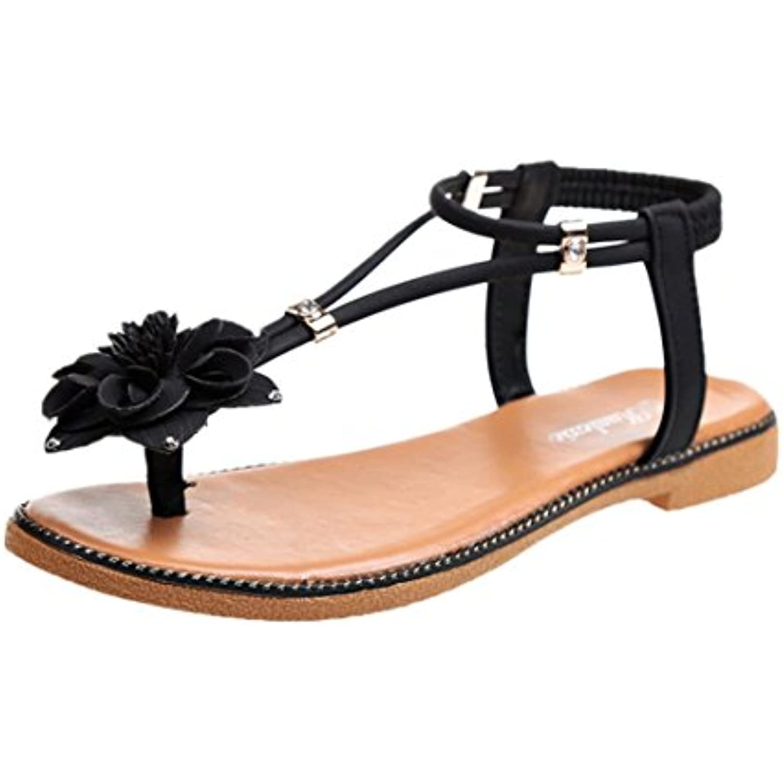 s Femme,Escarpins Femmes Plates,Chaussures Femme,Escarpins s Femme,Mode Femmes Fleur Talon Plat Anti Dérapage Plage Chaussures... - B07CP6Q747 - 740d5f