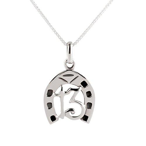 SL-Silver – Juego de cadena y colgante en forma de herradura y de número 13, plata de ley 925, en caja de regalo