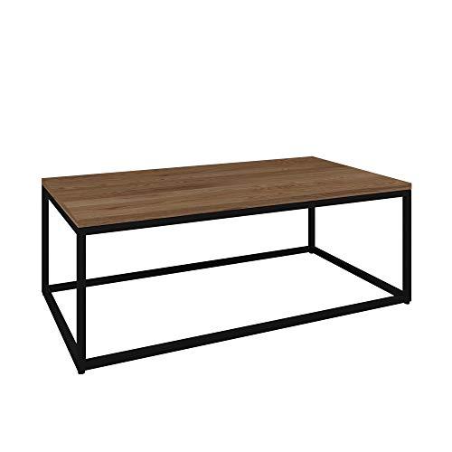 Vicco Loft Couchtisch Malibu Metall massiv Holz Eiche dunkel 60x60 60x110 Industrial (60 x 110 cm) - Malibu Glas Tisch