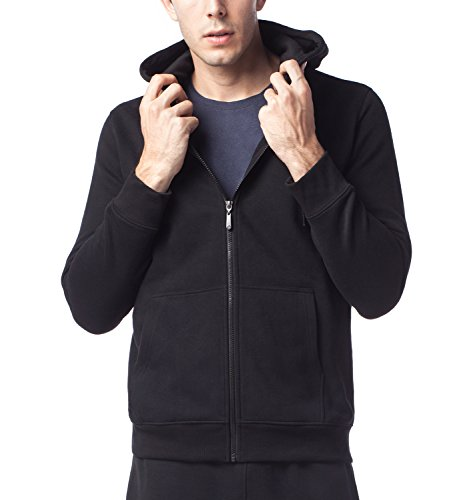 LAPASA Herren Kapuzenpullover - Fleece-Futter - Zip Hoodie Kapuzen-Sweatshirt Sweatjacke Kapuzenjacke M020 (Medium (Länge 70cm,Ärmel 65.5cm,Brust 96-102cm), Schwarz) Long Sleeve Full Zip Fleece