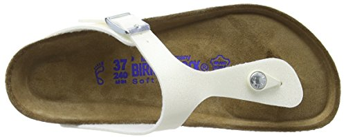 Birkenstock Gizeh Leder Softfootbed, Tongs mixte adulte Blanc (Magic Galaxy White)