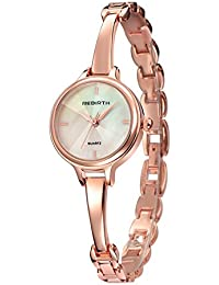 JSDDE Womens Elegant Rose Gold Luxury Dress Bracelet Cuff Bangle Wrist Watch Analog Quartz 3 ATM Waterproof(Black Dial)
