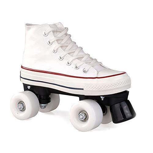 Nicekko Canvas High Skate Rollschuhe Street Roller Rollerskates Vier Runden Roller Skates, Meine Damen und Herren,Weiß,39