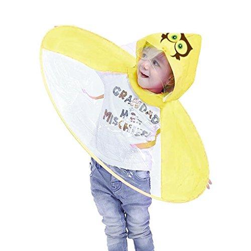 TAOtTAO Faltbarer netter Tierregen-Mantel UFO-Kinderregenschirm-Hut-magischer Handregenmantel (S, Gelb)