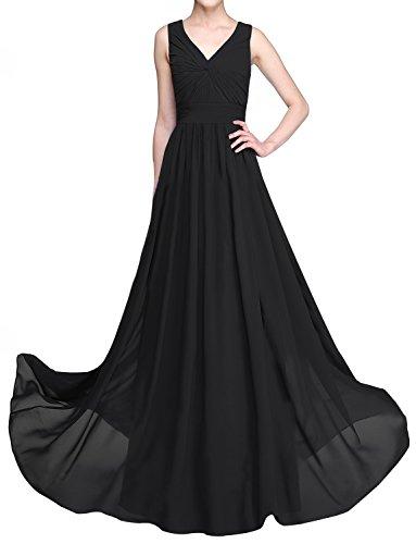 Erosebridal Bodenlangen V-Ausschnitt Brautjungfernkleider Forma Seite Drapieren Abendkleid Schwarz