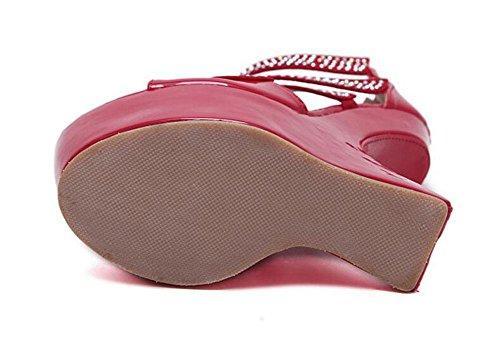 GLTER Cinturino Donne Pumps europeo e americano di Nightclub Charme tacco alto sandali della piattaforma impermeabile profilato con diamante scarpe Red