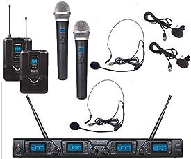 Karsect WR-354HT35-PT35 - Drahtlose 4 kanal mikrofon-set mit 2 headset/2 clips mikrofonen, 2 handmikrofon und 16 kanälen