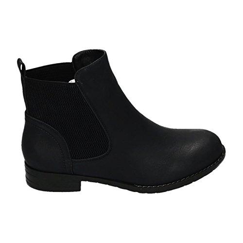 Damen Chelsea Boots Stiefeletten Flache Schlupfstiefel Schuhe ZY90 Schwarz 29
