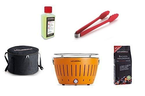 LotusGrill Kit de Démarrage 1x LotusGrill Couleur orange mandarine 1x Charbon de bois de hêtre 1kg,1x Pâte brûlante 200ml,1x Pinces à saucisses Rouge,1x sac de Transport