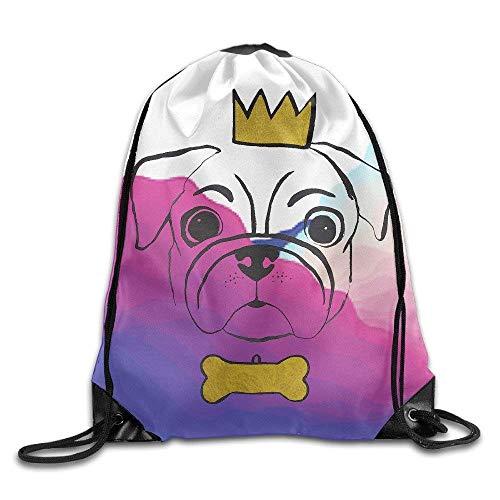 HLKPE Sparkling Gold Crown Bone Pug 100% Polyester Drawstring Backpack String Backpack Buggy Bag,Lightweight Drawstring Bag Sport Gym Sack Bag Backpack for Women Men