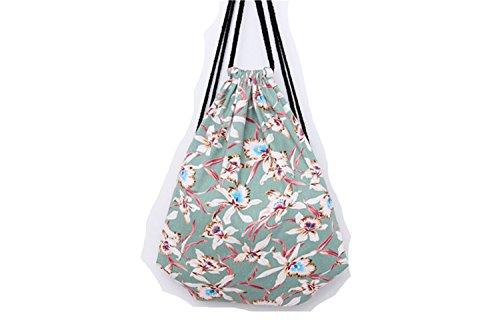 genießen sacchetto turn sacchetto custodia Sacchetto fotocamera Hipster sacchetto di iuta borsa da spiaggia Viaggi Escursionismo Floral fiori, verde (bianco) - BE0003