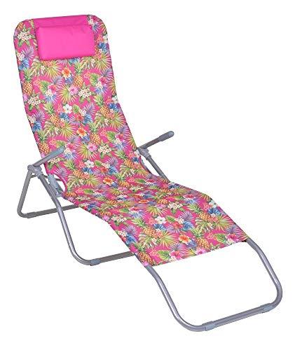 Enrico coveri garden lettino sdraio basculante e reclinabile in acciaio e tessuto textilene, perfetta per arredo giardino, esterno e mare (rosa)
