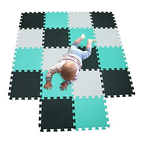 MQIAOHAM Babys Color Foam krabbelmatte matten playmat Puzzle Puzzle-spielmatte schaummatte spielteppich Weiß-Schwarz-Grün 101104108
