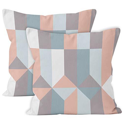 Encasa Homes Kissenbezüge - Solide eingefärbte Uni-Farben - 2er-Pack - 40 x 40 cm - Blocks