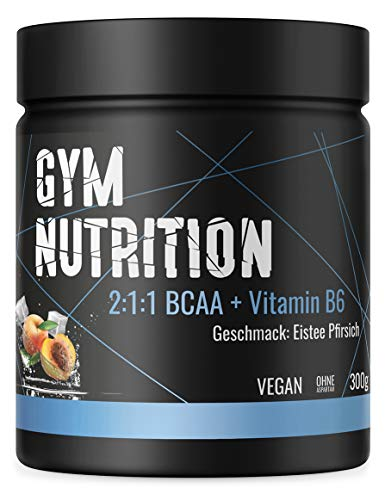 GYM-NUTRITION® — BCAA + VITAMIN B6 – Amino-Säuren hochdosiert, vegan – Leucin, Isoleucin, Valin – 2:1:1 Aminosäure-Pulver – Made in Germany – Geschmack: ICE TEA PEACH