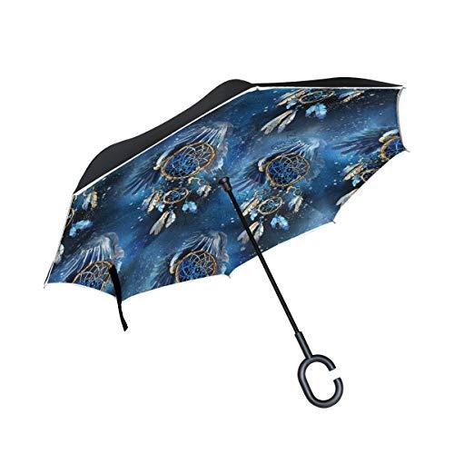 HYJDZKJY Paraguas invertido de Doble Capa Coches Paraguas inverso Atrapasueños Acuarela A Prueba de Viento A Prueba de UV Paraguas de Viaje al Aire Libre