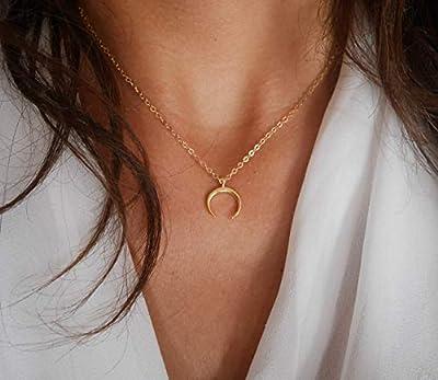Collier croissant de lune plaqué or - bijoux lune - chaîne doré - collier lune - croissant de lune - bijoux boho - collier empilable