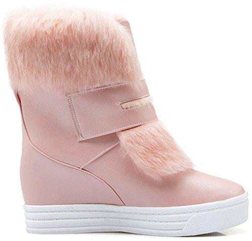 YE Damen Wedges Keilabsatz Stiefeletten High Heels Plateau mit Fell Warm Gefüttert 4cm Absatz Winterstiefel Rosa
