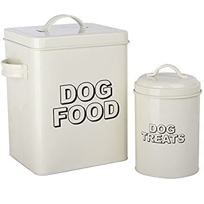 CrazyGadget® Vintage Classic Retro Dog Food Treats Storage Container Set - Cream