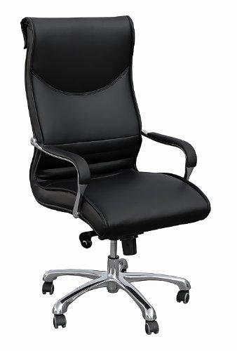 AMSTYLE Bürostuhl MILANO Bezug Kunstleder Schwarz Design Schreibtischstuhl X-XL 120 kg Chefsessel höhenverstellbar Drehstuhl ergonomisch mit Armlehnen Polster hohe Rücken-Lehne Wippfunktion Hochlehner