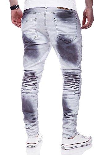 MT Styles Biker Jeans Slim Fit Hose RJ-3219 Weiß