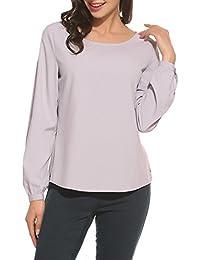 Trudge Damen Bluse Chiffon Tops Elegant Blusen Oberteil Hemd Monochrom Mode  Hemd 41907d9b29