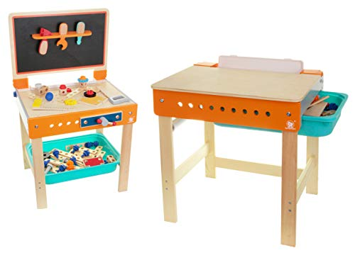 TOP BRIGHT Spiel Werkbank aus Holz 2in1 Schreibtisch Maltisch Werkbank -