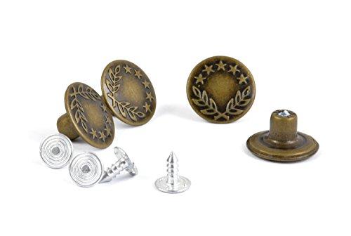 * Vier Jeansknöpfe aus Metall   Gold Silber Bronze   nickelfrei   Jeansnieten nähfreie Druckknöpfe (Bronze)