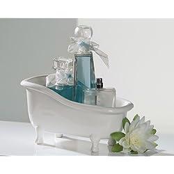 Casa Padrino Designer Badewanne aus Keramik weiss Länge: 25 cm, Höhe: 14 cm - Deko Freistehende Badewanne