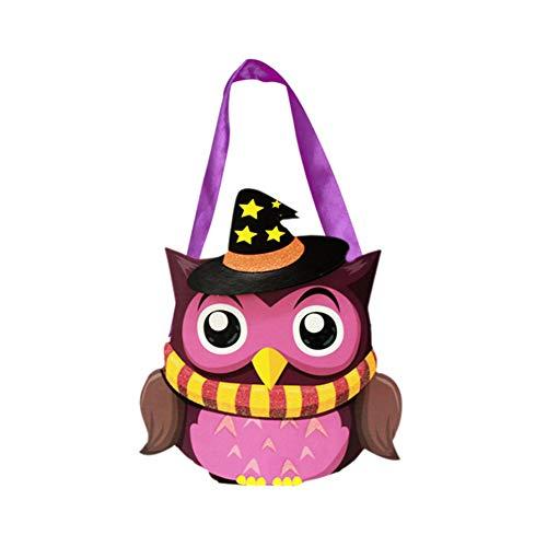Cosanter Halloween Papier Kleinen Korb Tragbare Süßigkeiten Tasche Kinder Make-up Party Kostüme (Lila Eulen Muster)
